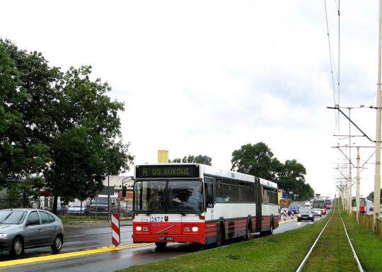 Dąbskie Volvo jedzie po wyznaczonym pasie dla autobusów