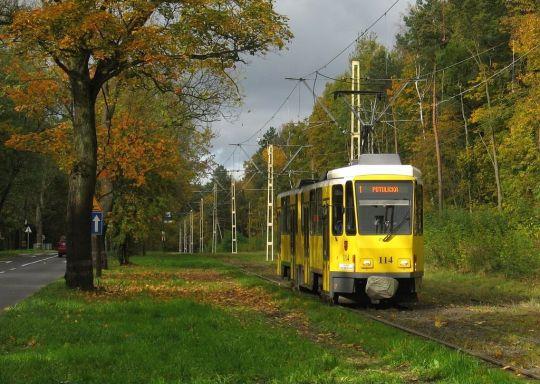 Złota polska jesień i żółta ex-berlińska Tatra