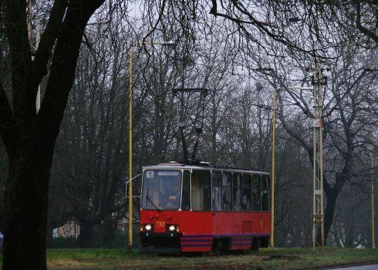 """Solowa """"jedynka"""" uchwycona przed przystankiem """"Zajezdnia Pogodno"""""""