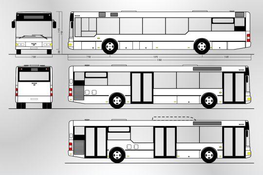 Schemat ogólny pierwszej wersji autobusu MAN A21