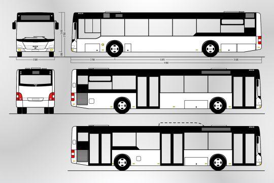 Schemat ogólny trzeciej wersji autobusu MAN A21