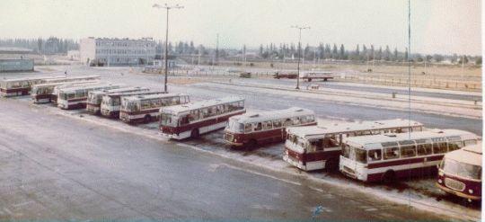 Widok na zajezdnię Dąbie w 1978 roku
