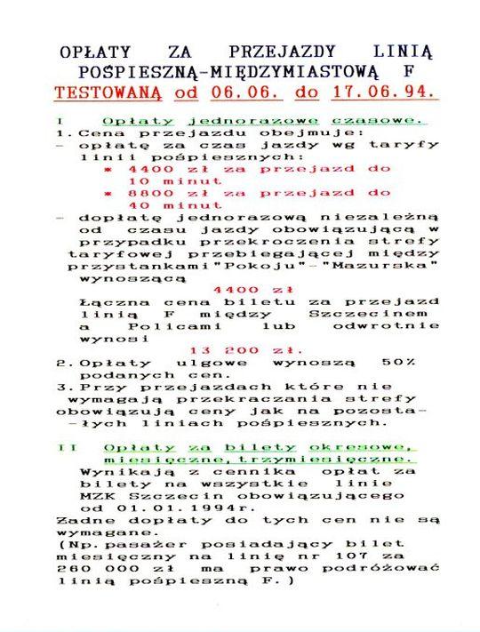 Informacja o opłatach za przejazd testowaną w 1994 roku pospieszną linią F