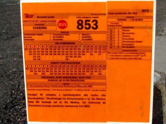 Rozkład jazdy zastępczej linii autobusowej 853