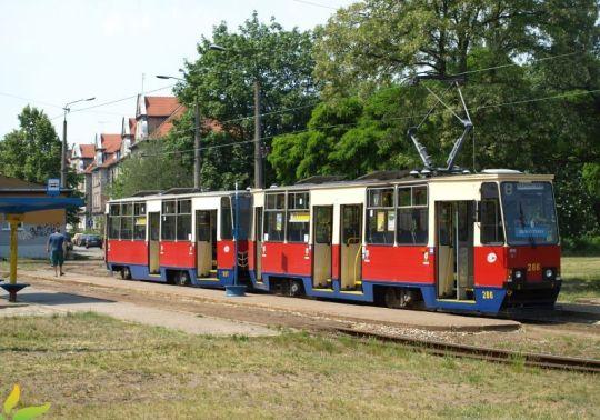 Siedmiodrzwiowy skład 805-tek, jakich kilkanaście kursuje po Bydgoszczy