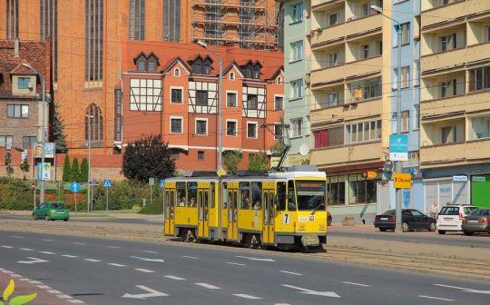 Większość niedzielnych brygad linii 7 obsługiwana jest przegubowymi Tatrami