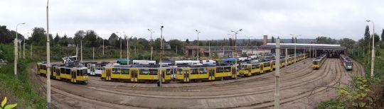 Widok na zajezdnię Pogodno od strony ulicy Litewskiej