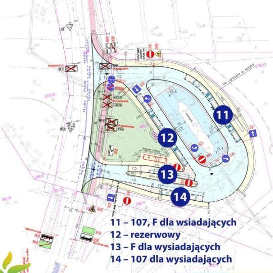 """Rozmieszczenie przystanków na pętli """"Police Wyszyńskiego Polana"""""""